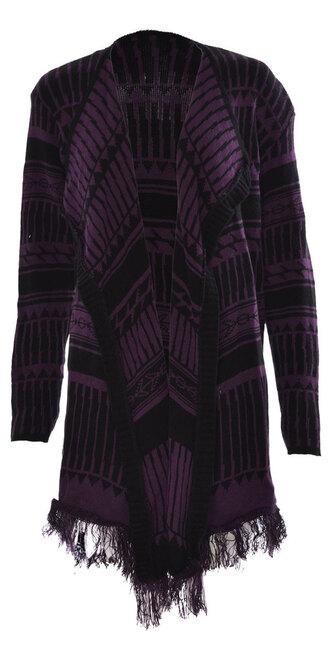 cardigan women aztec print kintted full sleeve waterfall purple
