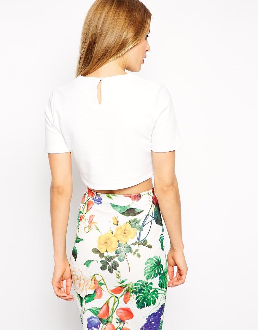 ASOS Crop Top with Curved Hem in Coated Fabric at asos.com