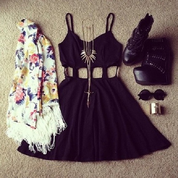 dress little black dress summer dress jacket jewels sunglasses black little black dress cut out skater skater dress cut out dress