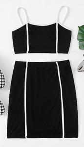 dress,girly,girl,girly wishlist,black dress,black top,black,two-piece,two piece dress set,crop tops,cropped,crop,skirt,matching set,white