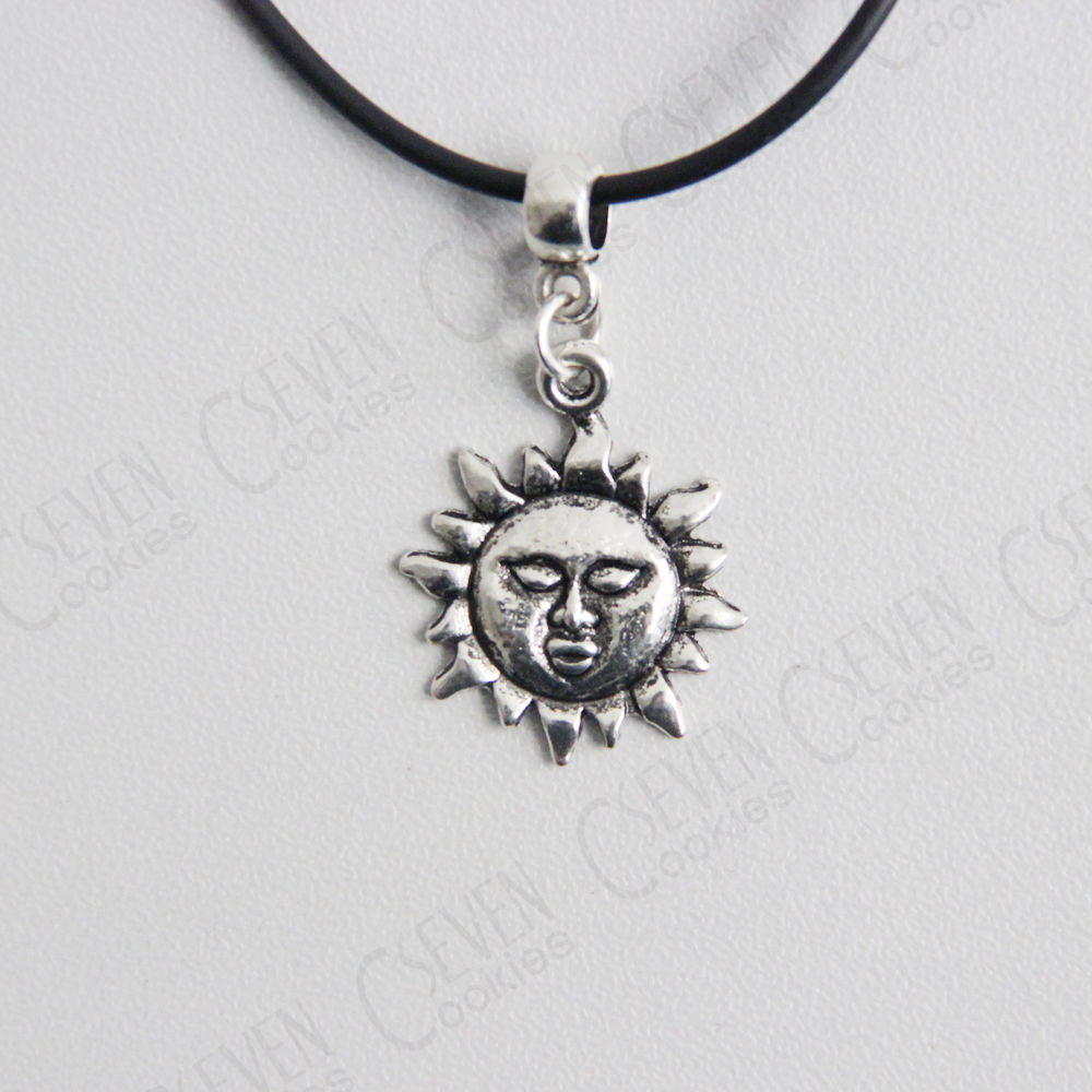 RETRO VINTAGE SUN CHARM ON A BLACK LEATHER CHOKER NECKLACE BRAND NEW PENDENT UK | eBay