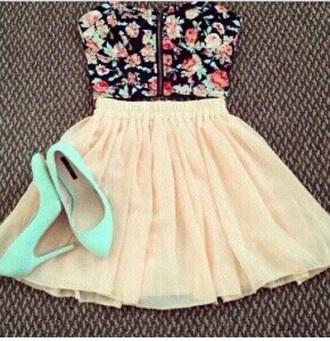 dress flowers cute top skirt summer strapless strapless dress strapless top