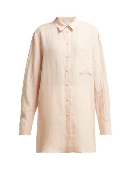 Asceno - Linen Boyfriend Shirt - Womens - Light Pink