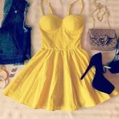 dress,yellow,yellow dress,bag,jacket,shoes,bustier dress,short dress,casual dress,girly,cute dress,bralette,sundress,teenagers,bustier,black heels,denim vest,cute,summer,summer dress,summer outfits