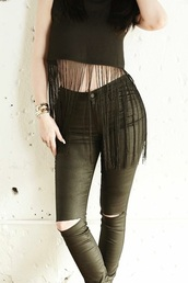 jeans,top,fringed top,kylie jenner,pants,shoes,black ripped jeans,kendall + kylie label