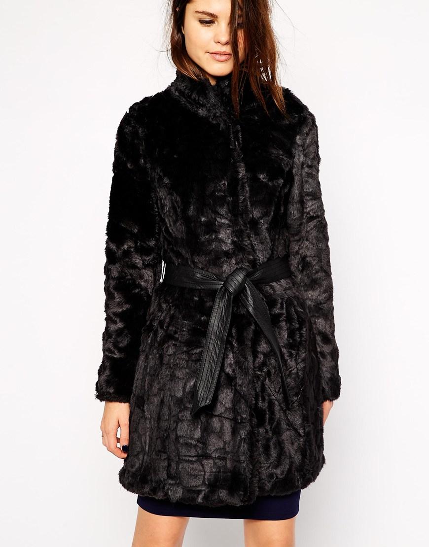 Little Mistress Faux Fur Belted Jacket at asos.com