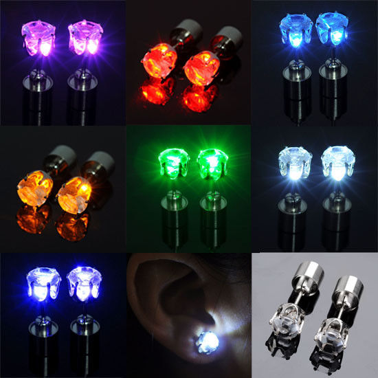 Color LED Earrings Light Up Glowing Studs Ear Ring Drop Crystal Dance Party Gift | eBay