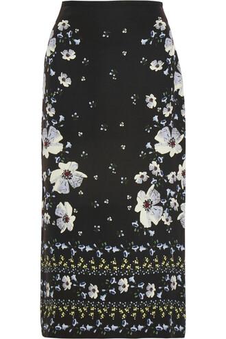 skirt midi skirt midi floral print silk black