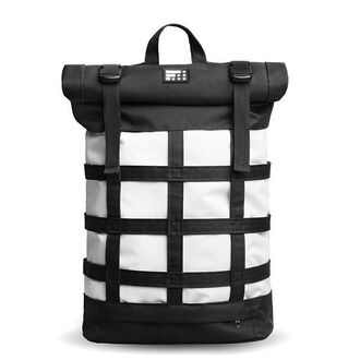 bag backpack roll top travel travel bag travel backpack white black black and white fusion rolltop monochrome