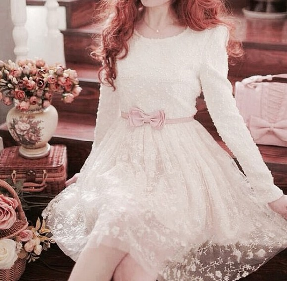 lace dress long sleeve dress cute dress white dress dress clothes