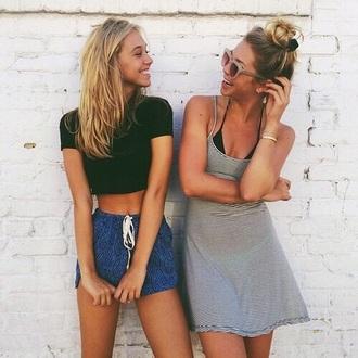 shorts drawstring blue friends