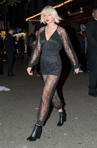 ankle boots see through jumpsuit taylor swift lace