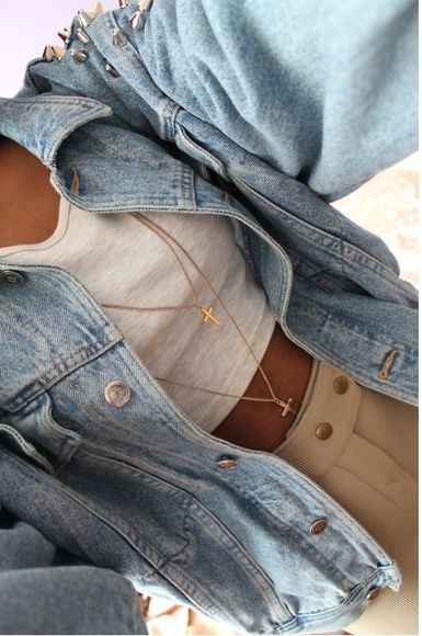 pants studs style cute tan tumblr tumblr clothes tank top top necklace gold cross shorts skirt beige white jacket coat shirt what brand croptops jeanjacket jewels