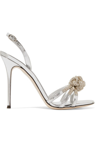 Giuseppe Zanotti metallic embellished sandals leather sandals silver leather shoes