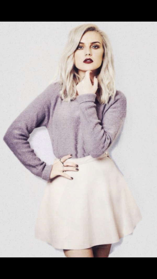 sweater grey sweater pink skirt perrie edwards little mix celebrity