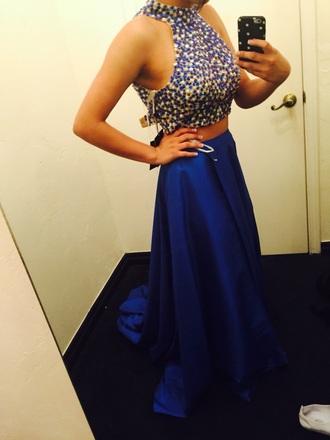 dress royal blue dress prom dress halter top halter neck beaded fashion long prom dress long dress