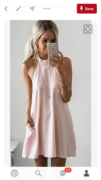 dress pink dress girl halter dress