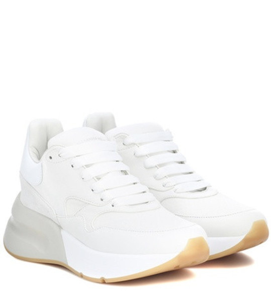 Alexander McQueen Leather and fabric sneakers in white