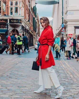 shoes tumblr boots white boots coat red coat fall outfits pants white pants wide-leg pants belt