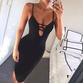 dress,black,body dress,black dress,bodycon dress,cute dress,cut out bodycon dress,maxi dress,jacket,sexy,sexy dress,black sexy dress,hot,deep v dress,clubwear,night out dress,vegas,trendy,midi dress,ogvibes