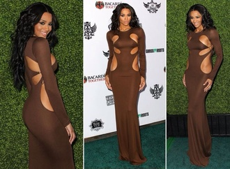 dress ciara brown nude toffee floor length maxi dress cut-out