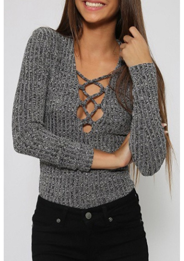 Blouse Top Grey Fashion Style Strappy Criss Cross