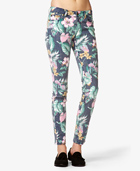 Tropical print skinny jeans