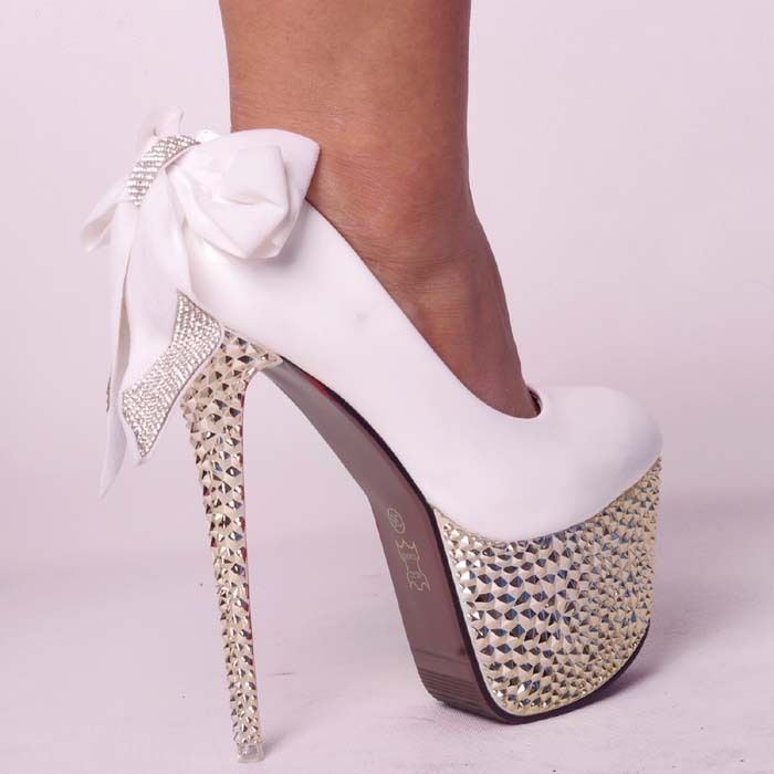 GLITTER STUDDED SPIKE DIAMONDS BOW LACE SUPER PLATFORM WOMEN COURT HIGH HEELS