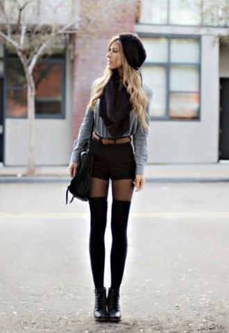 sweater grey sweater socks black knee high socks