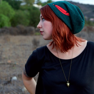 hat green beanie green beanie red feather peter pan disney disney clothes forest green