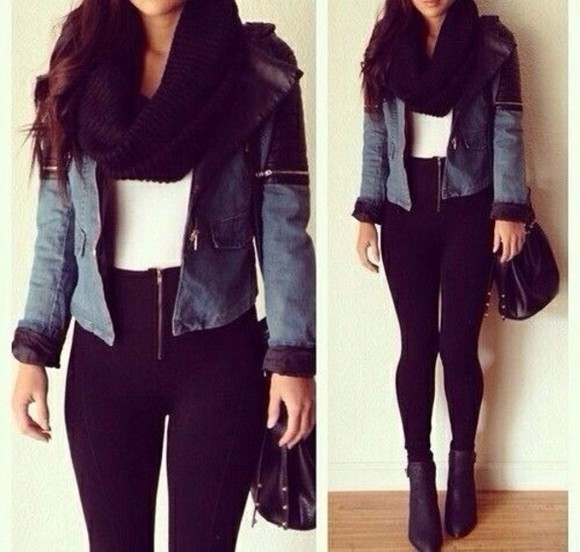 black scarf jacket shoes jeans white t-shirt pants tank top