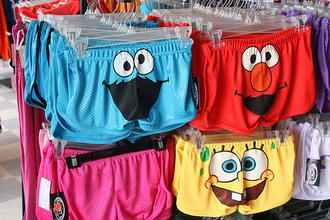 shorts workout blue pink yellow eyes mouth red spongebob