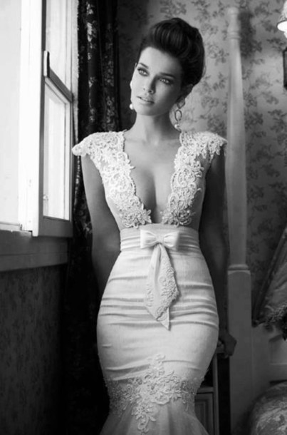 dress, white dress, white dress, white lace dress, v neck dress ...