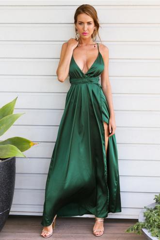 dress emerald green satin dress maxi dress