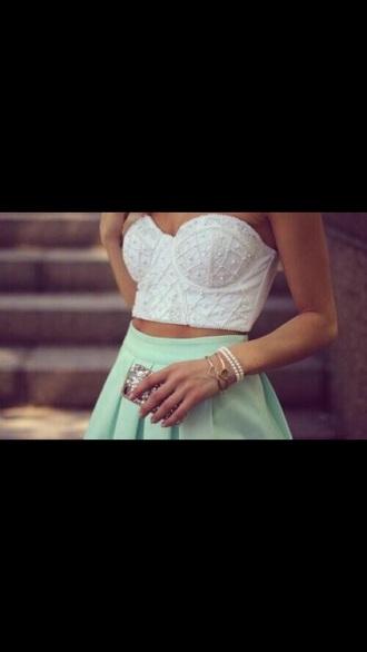 top white crop tops skirt