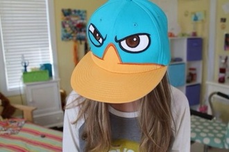hat platipus green blue cap orange cute angry face kawaii perry the platipus phineas and ferb