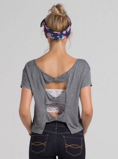 shirt grey gray shirt bow