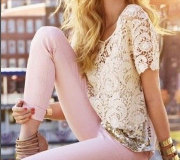 shirt white lace lace shirt lace pink jeans pretty pants pink jeans pink pants t-shirt light pink exacty these and the shirt white and gold glitter skinny jeans blouse must have clothes