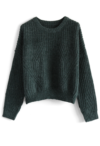 sweater cozy snuggles sweater in forest green chicwish green