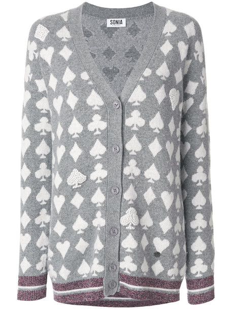 Sonia by Sonia Rykiel cardigan cardigan women cotton wool grey sweater