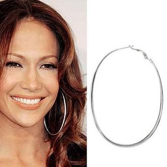 jewels hoop earrings jewelry earrings silver silver earrings jennifer lopez celebrity style celebrity