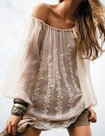 tunic beige blouse crochet