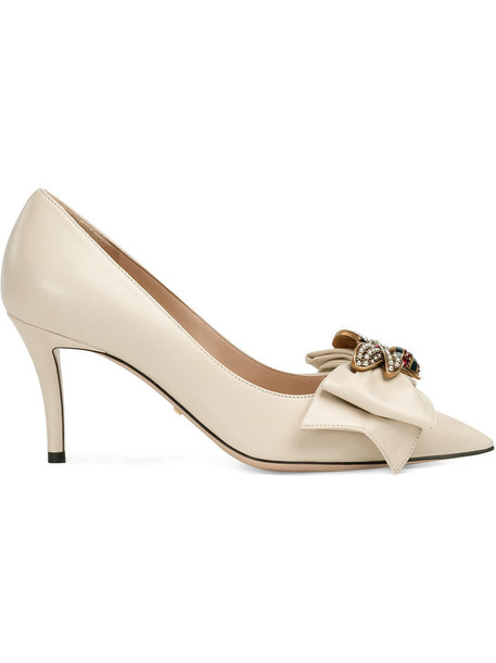 gucci heel bow women leather white shoes