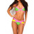 Pink Yellow Green Cut Out Bandage Bikini   Emprada
