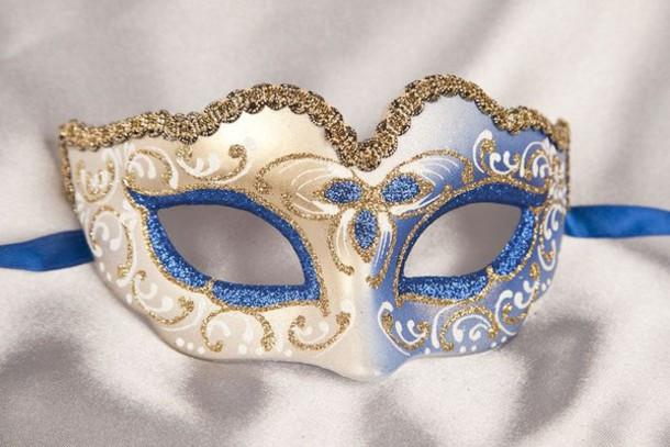 hair accessory sparkle blue gold glitter masquerade mask
