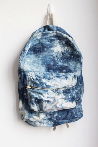 bag blue and white backpack