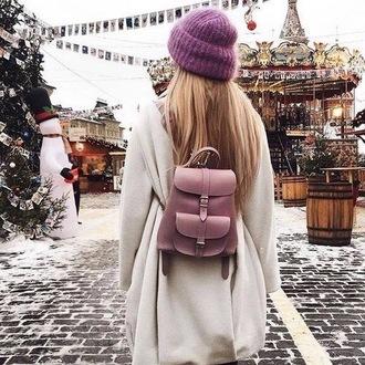 bag holiday season backpack coat white coat beanie christmas tumblr mini backpack dusty pin bag knitted beanie