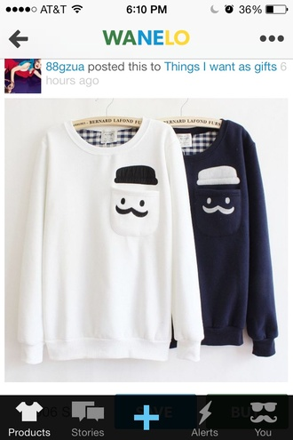 sweater hat black and white moustache smiley navy