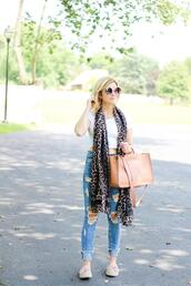 kim tuttle,the knotted chain - a style blog by kim tuttle,blogger,top,jeans,shoes,bag,scarf,sunglasses