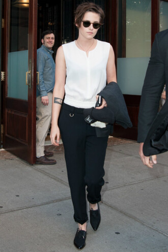 jumpsuit pants kristen stewart fall outfits sunglasses